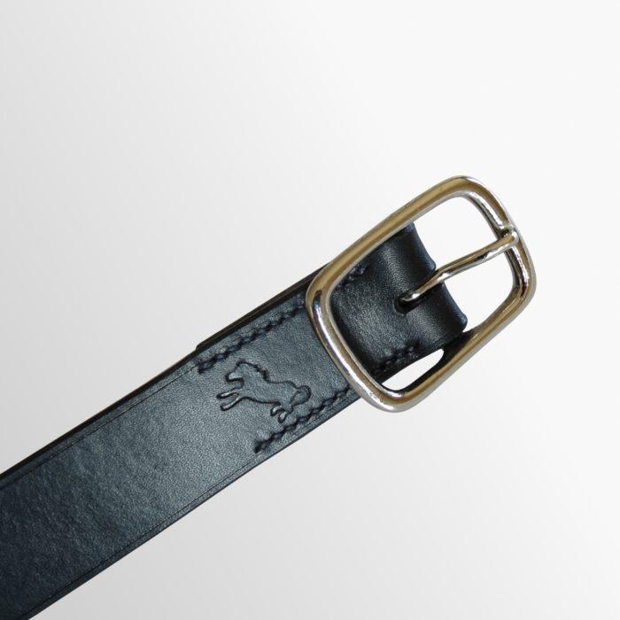 ceinture épurée cuir noir fabriquée en france