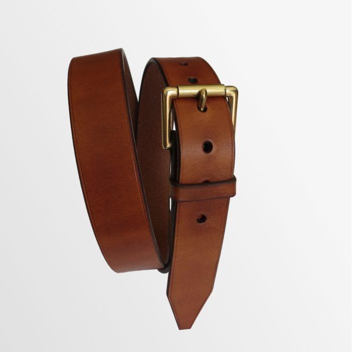 ceinture cuir marron boucle jaune haut de gamme