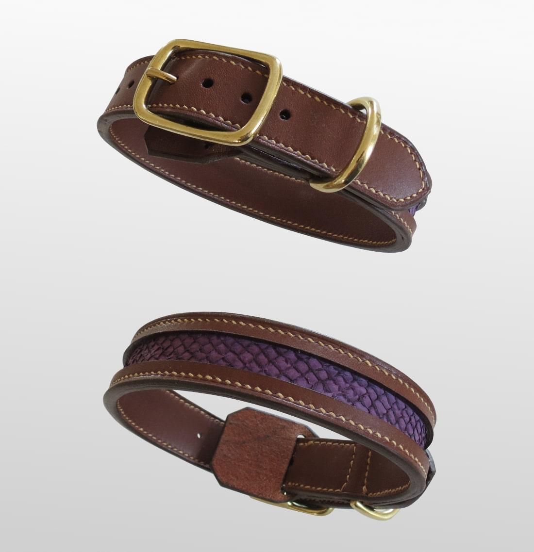 collier écailles chien cuir fabriqué en france