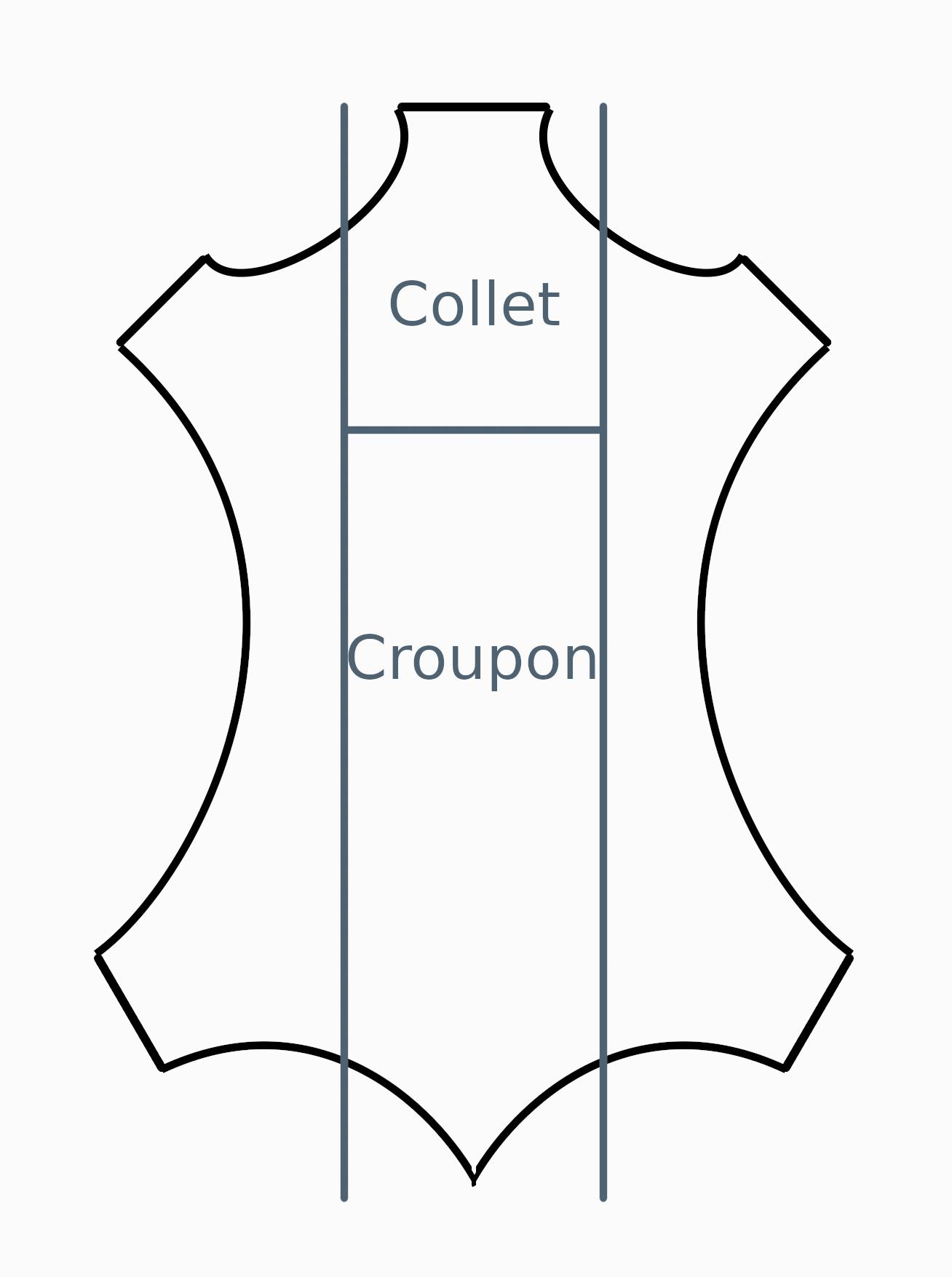 schéma pour montrer où se situent le collet et le croupon sur un cuir